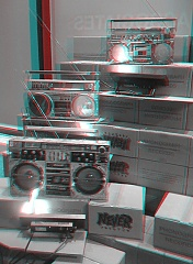 Boomboxes at Never Records in 3D